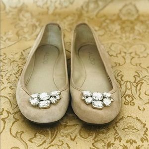 Aldo Nude Flats with Crystals